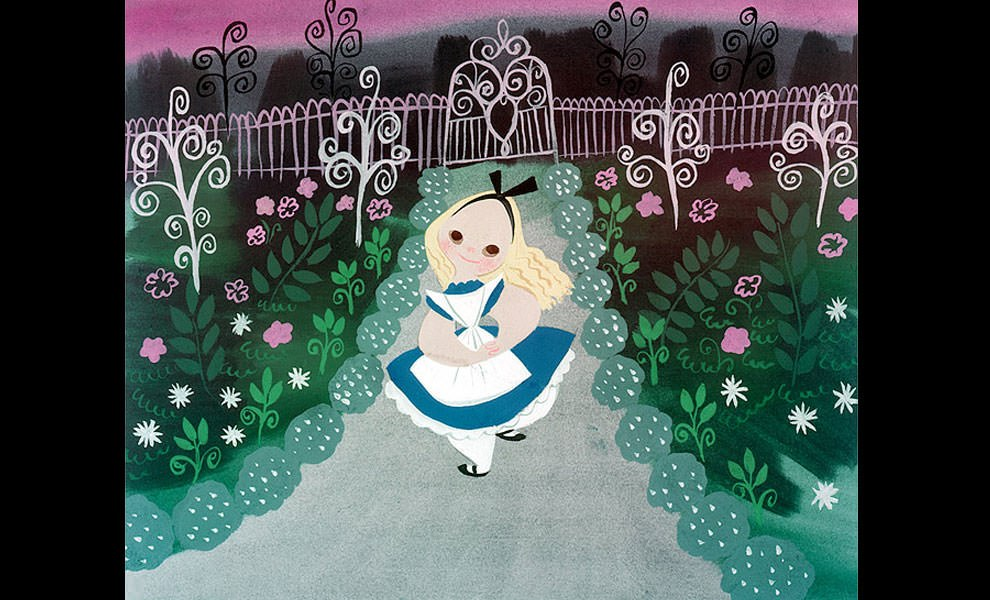Gallery Feature Image of Alice in the Garden by Mary Blair Fine Art Print - Click to open image gallery