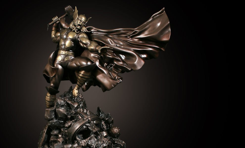 Gallery Feature Image of Faux Bronze Action Thor Polystone Statue - Click to open image gallery