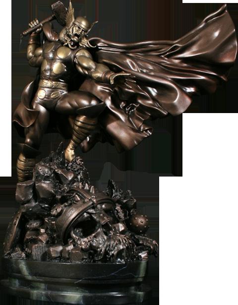 Bowen Designs Faux Bronze Action Thor Polystone Statue