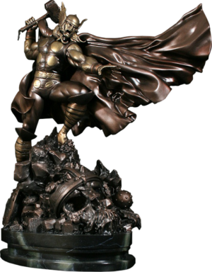 Faux Bronze Action Thor Polystone Statue