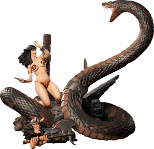 Snake and Slave Girl Polystone Diorama