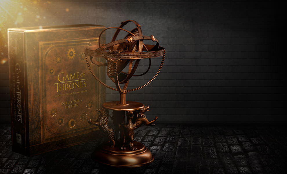 Gallery Feature Image of Game of Thrones Astrolabe with Game of Thrones A Pop-Up Guide to Westeros Collectors Edition Book - Click to open image gallery