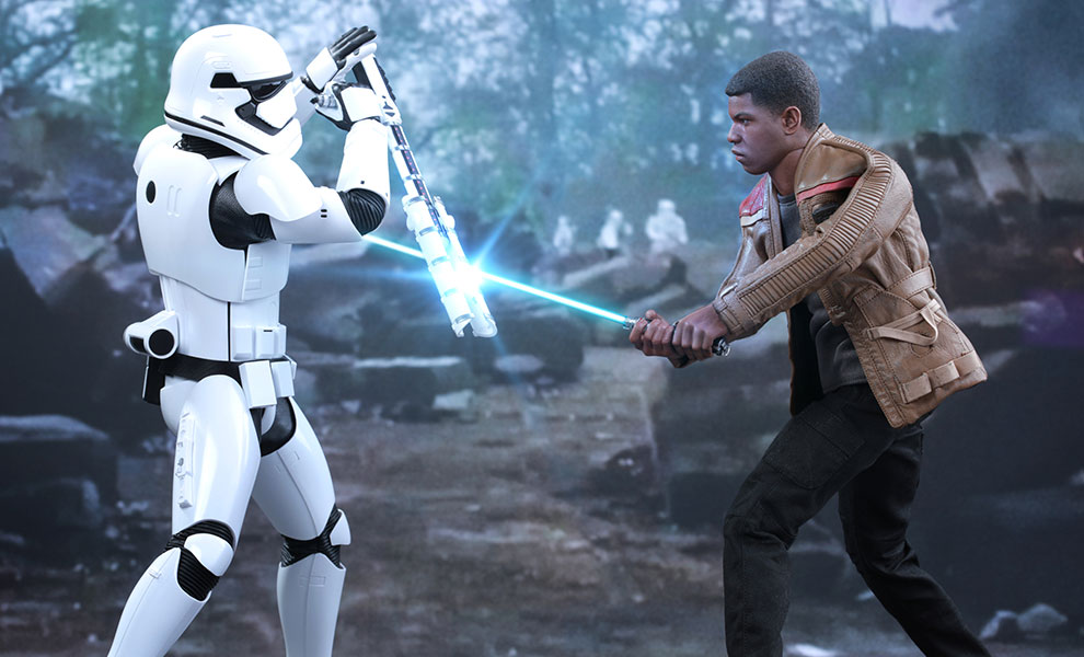Gallery Feature Image of Finn and First Order Riot Control Stormtrooper Sixth Scale Figure - Click to open image gallery