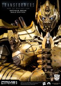 Gallery Image of Optimus Prime Knight Edition Gold Version Polystone Statue