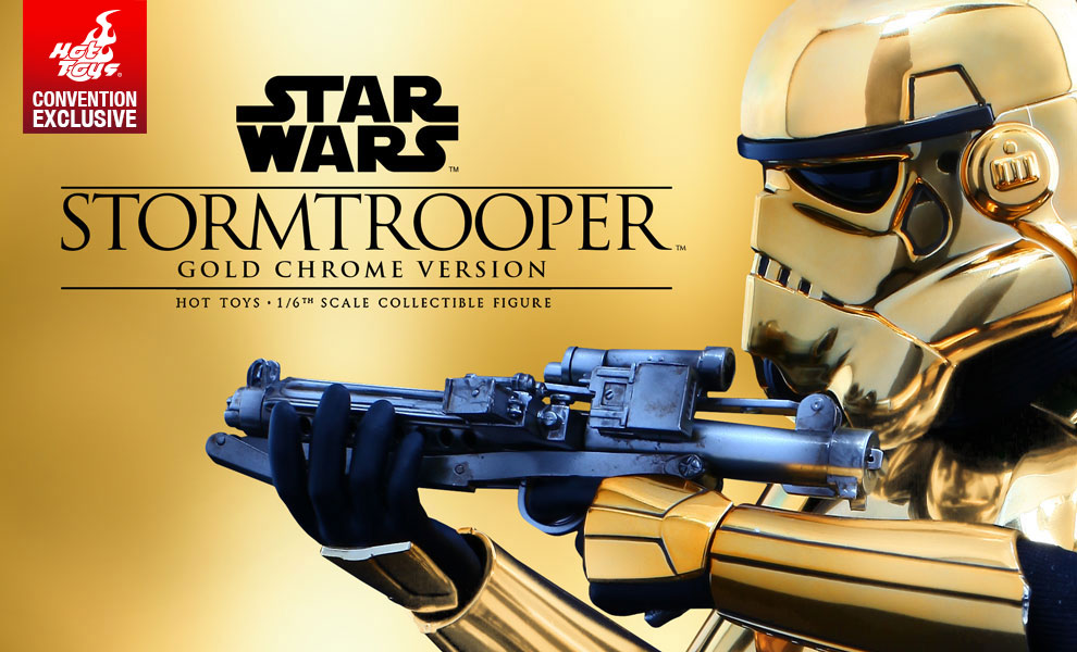 Gallery Feature Image of Stormtrooper Gold Chrome Version Sixth Scale Figure - Click to open image gallery