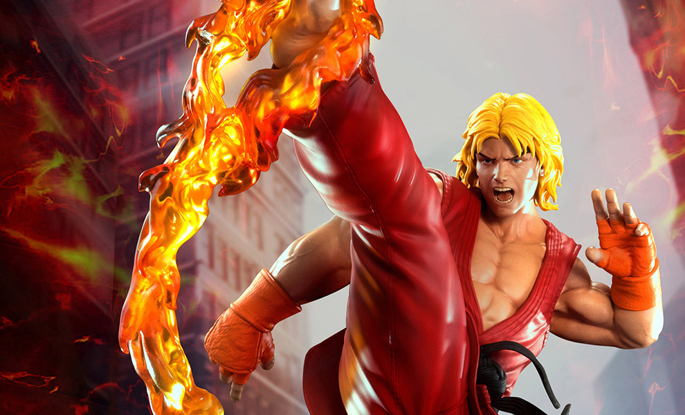 Gallery Feature Image of Ken Masters with Dragon Flame Statue - Click to open image gallery