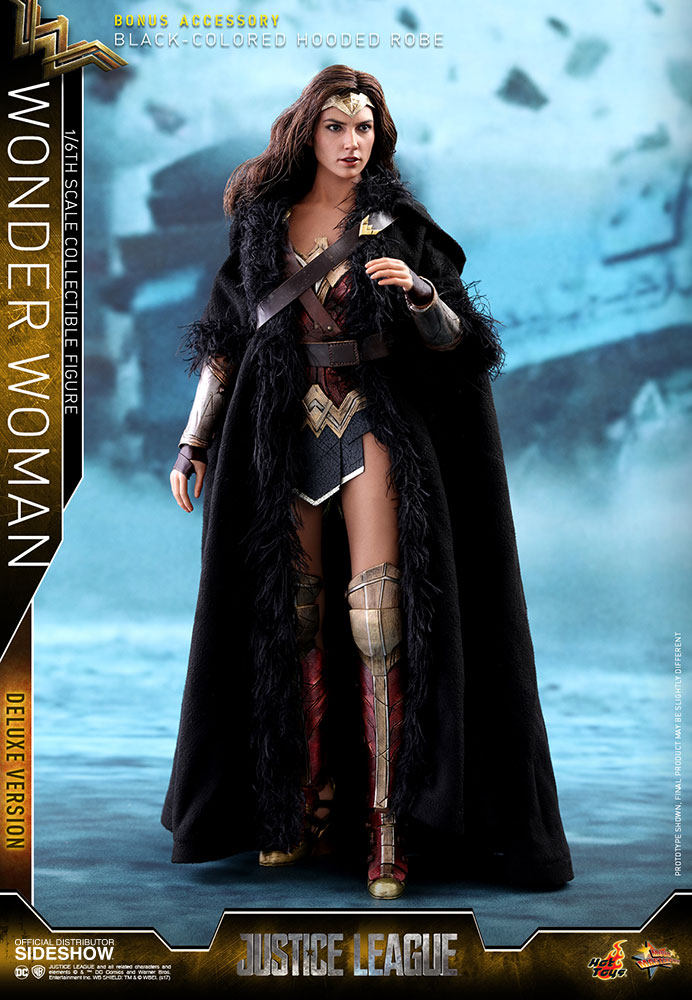 black hooded robe 1//6 Scale Hot Toys MMS451 Justice League Wonder Woman