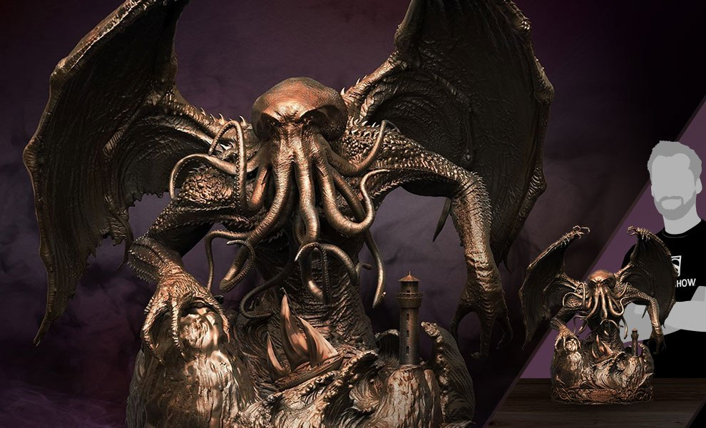 Gallery Feature Image of Cthulhu Faux Bronze Statue - Click to open image gallery