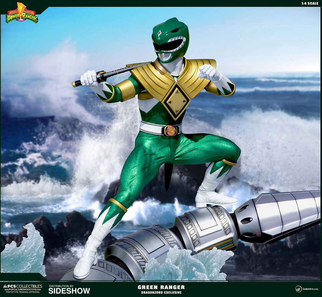 Mighty Morphin Power Rangers Green Ranger Dragonzord Statue