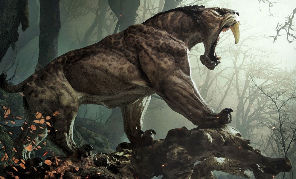 Gallery Feature Image of Smilodon Populator - Tree Root Statue - Click to open image gallery