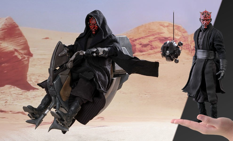 Gallery Feature Image of Darth Maul with Sith Speeder Sixth Scale Figure - Click to open image gallery