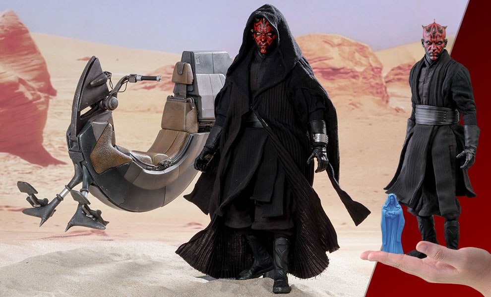 Gallery Feature Image of Darth Maul with Sith Speeder Special Edition Sixth Scale Figure - Click to open image gallery