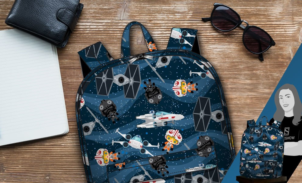 Gallery Feature Image of X-Wing and TIE Fighter Backpack Apparel - Click to open image gallery