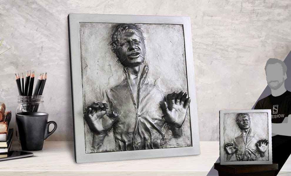 Gallery Feature Image of Han Solo in Carbonite Plaque Statue - Click to open image gallery