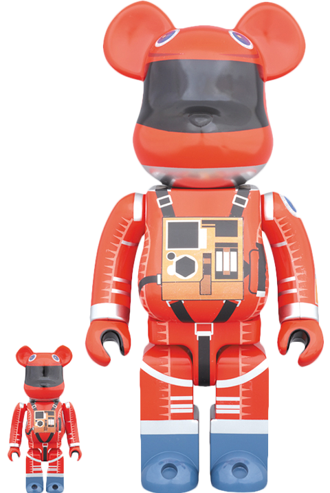 22257956 Medicom Toy Bearbrick Space Suit Orange Version 100 and 400 Collectible Set