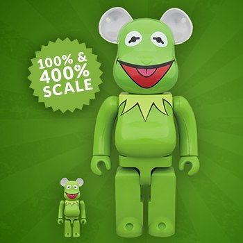 Disney Bearbrick Kermit the Frog 100 and 400 Collectible Set