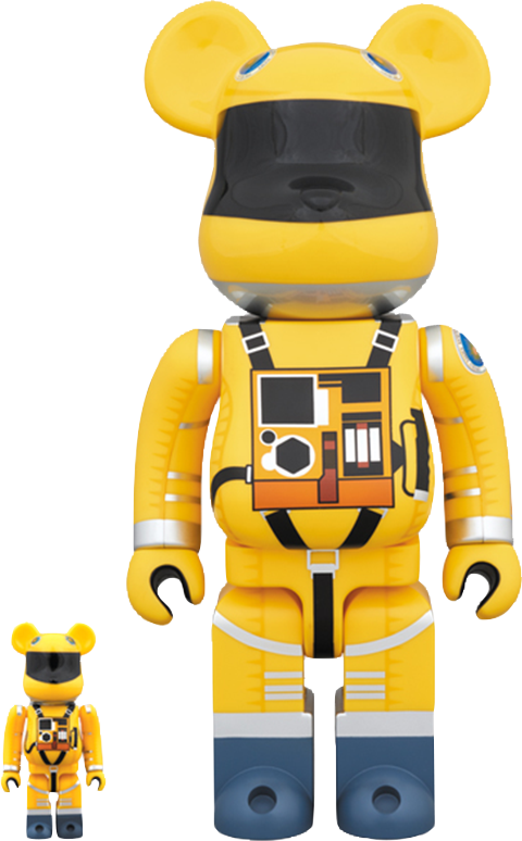 Medicom Toy Bearbrick Space Suit Yellow Version 100 and 400 Collectible Set