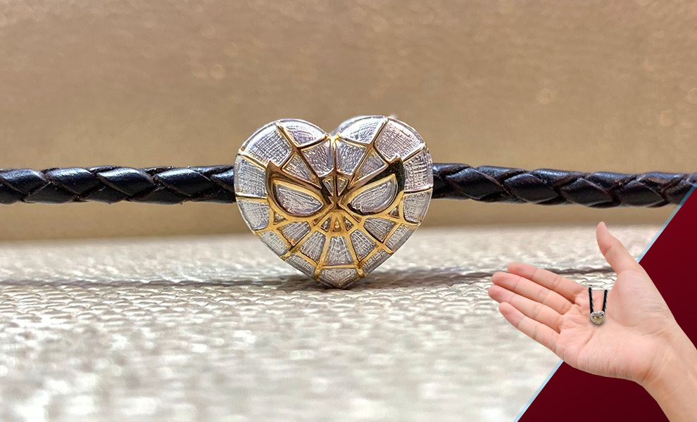 Gallery Feature Image of Spider-Heart Silver and Gold Bead - Large Jewelry - Click to open image gallery