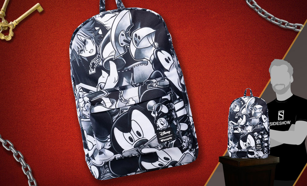 Gallery Feature Image of Kingdom Hearts (Black & White) Backpack Apparel - Click to open image gallery