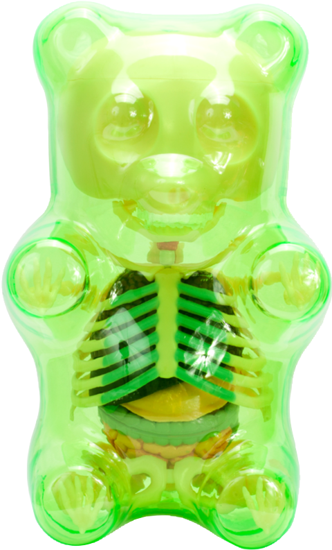 Mighty Jaxx Funny Anatomy Gummi Bear (Clear Green) Collectible Figure