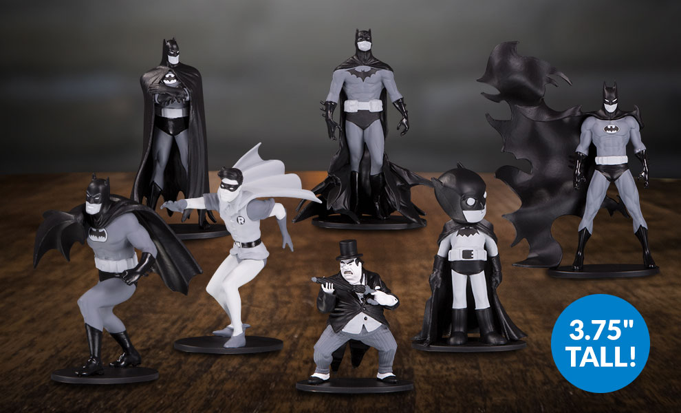 Gallery Feature Image of Batman Black & White Set of 7 Mini Figures Collectible Set - Click to open image gallery