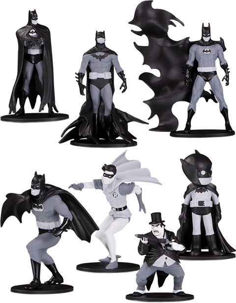 DC Collectibles Batman Black & White Set of 7 Mini Figures Collectible Set
