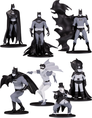 Batman Black & White Set of 7 Mini Figures Collectible Set