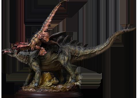 Damtoys Gigantspinosaurus and Inner Mongolia Velociraptor Statue