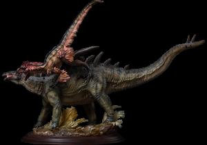 Gigantspinosaurus and Inner Mongolia Velociraptor Statue