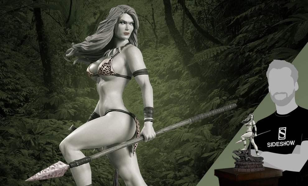 Gallery Feature Image of Jungle Girl Black & White Statue - Click to open image gallery