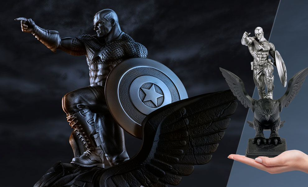 Gallery Feature Image of Captain America Resolute Figurine Pewter Collectible - Click to open image gallery