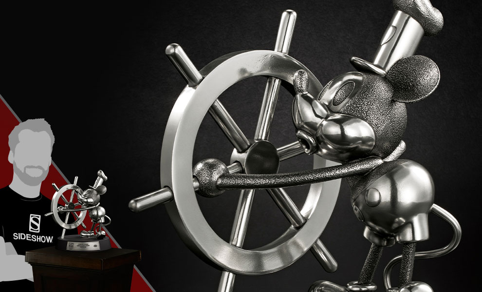 Gallery Feature Image of Mickey Mouse Limited Edition Steamboat Willie Figurine Pewter Collectible - Click to open image gallery