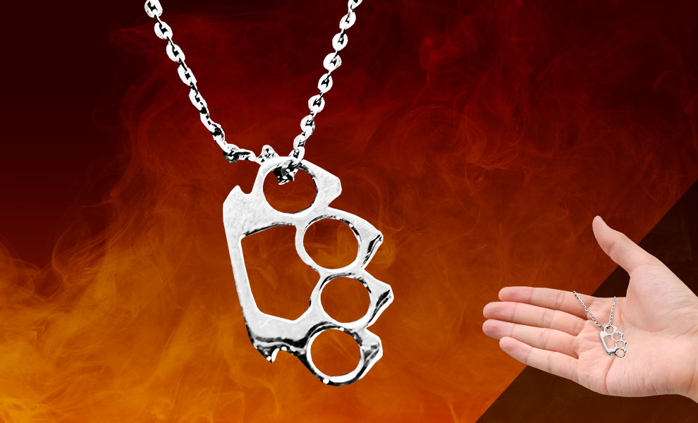 Gallery Feature Image of Silver Knuckles Necklace Jewelry - Click to open image gallery