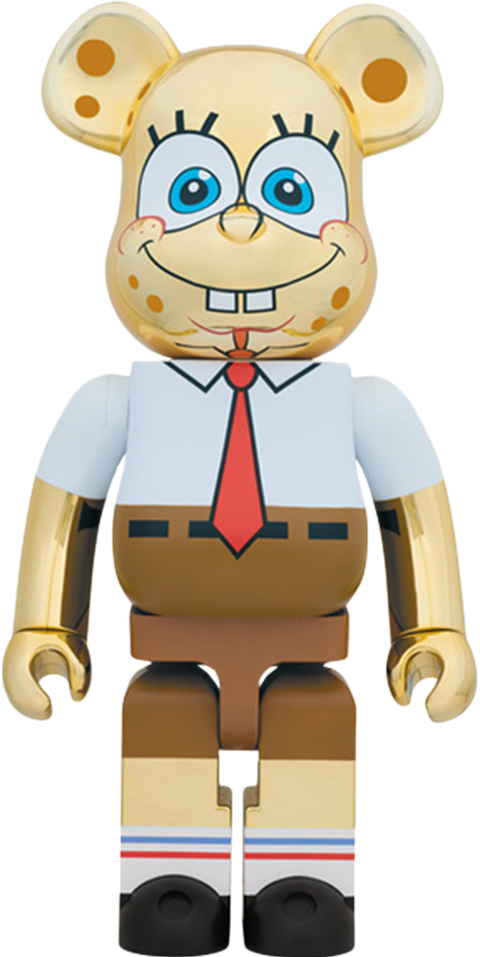Medicom Toy Be@rbrick Spongebob Gold Chrome 1000% Figure