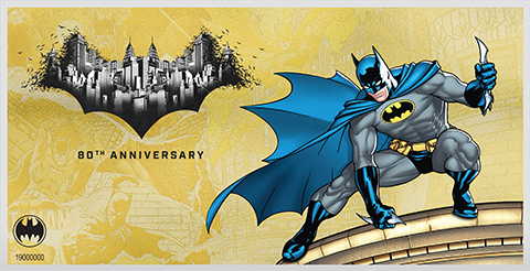 New Zealand Mint Batman 80th Anniversary 1g Gold Coin Note Gold Collectible