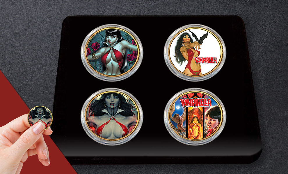Gallery Feature Image of Vampirella 50th Anniversary 24kt Gold Coin Set Collectible Set - Click to open image gallery