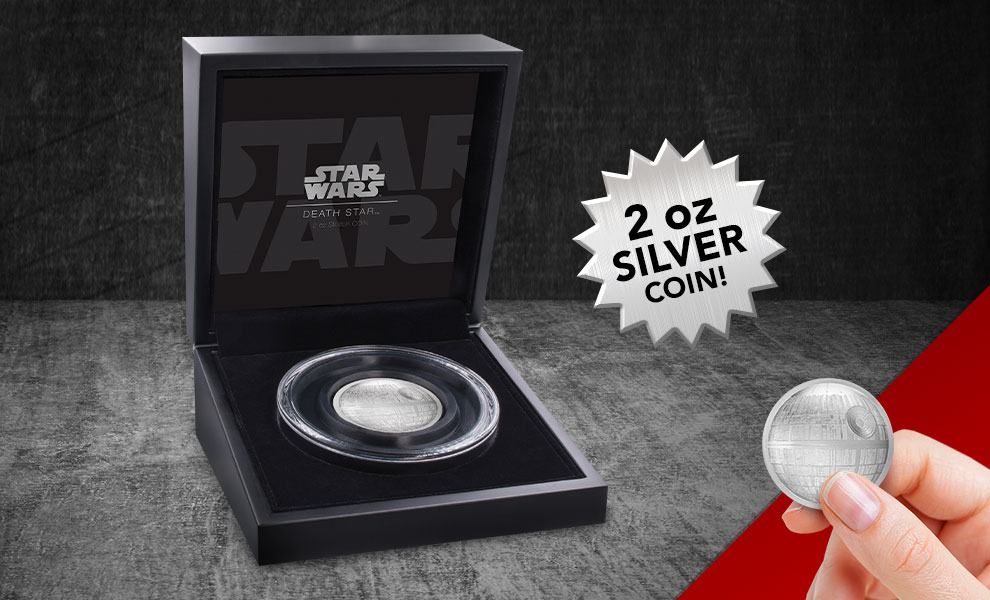 Gallery Feature Image of Death Star Silver Coin Silver Collectible - Click to open image gallery