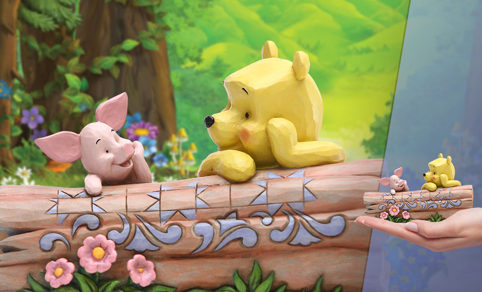 Gallery Feature Image of Pooh and Piglet by Log Figurine - Click to open image gallery