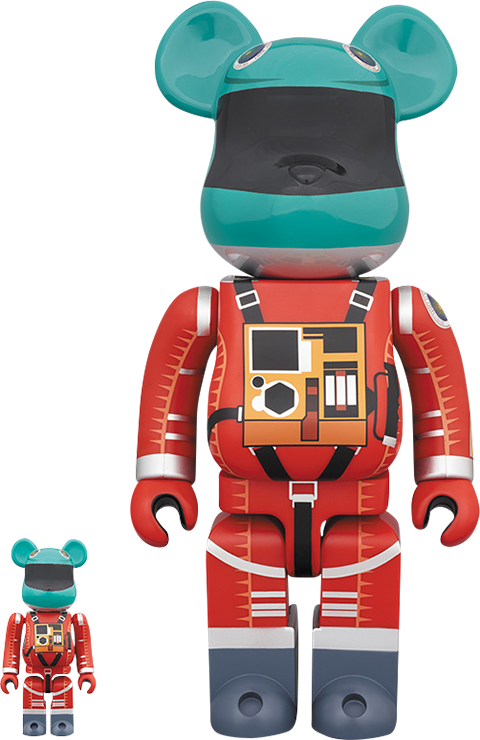 Medicom Toy Be@rbrick Space Suit (Green Helmet & Orange Suit Version) 100% and 400% Collectible Set