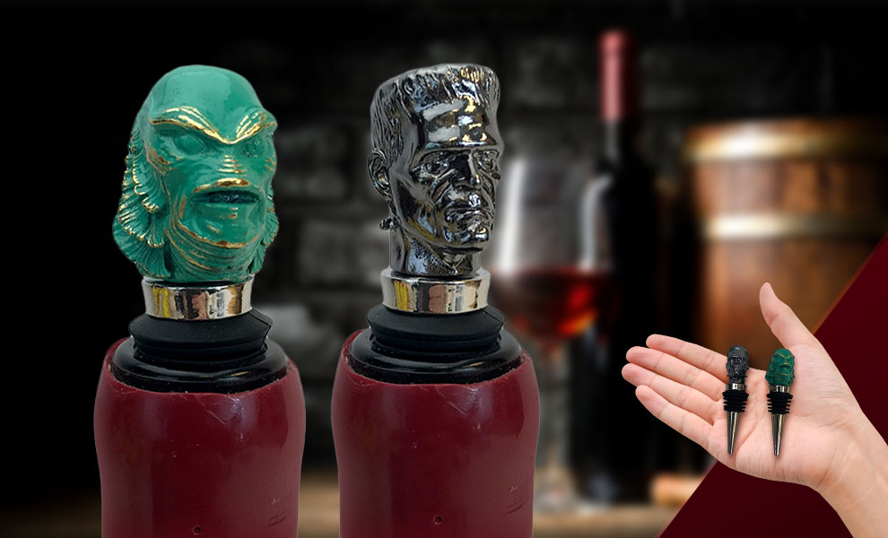 Gallery Feature Image of The Creature & Frankenstein Bottle Stopper Box Set - Click to open image gallery