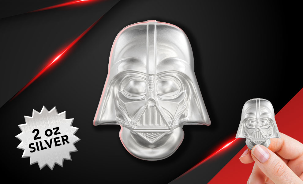 Gallery Feature Image of Darth Vader Helmet Coin Silver Collectible - Click to open image gallery