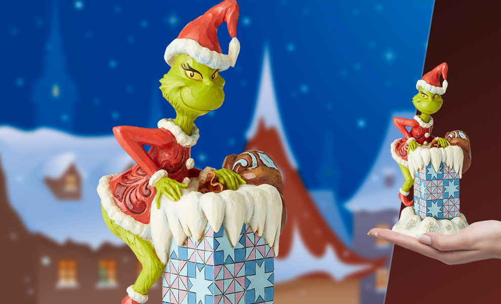 Gallery Feature Image of Grinch Climbing in the Chimney Figurine - Click to open image gallery
