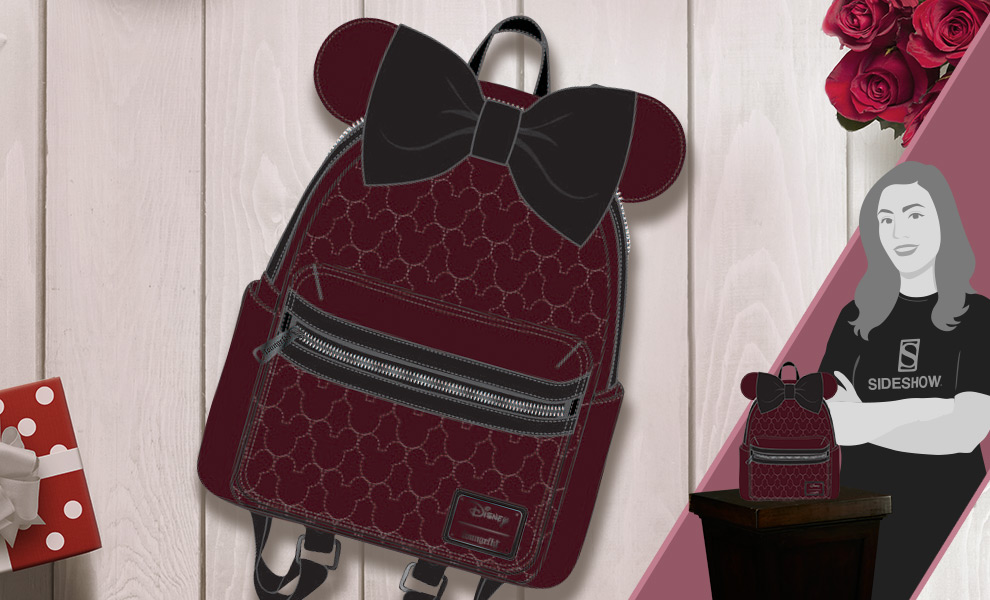 Gallery Feature Image of Minnie Velvet Bow Quilted Mini Backpack Apparel - Click to open image gallery