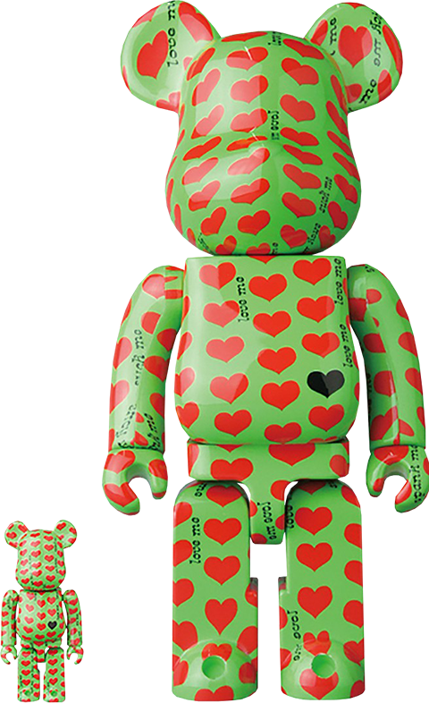 Medicom Toy Be@rbrick Green Heart 100% and 400% Collectible Set