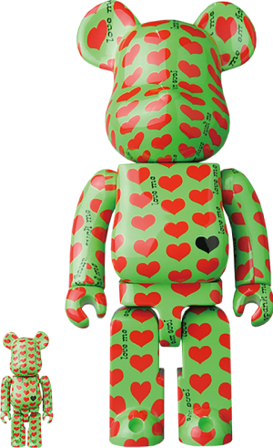 Be@rbrick Green Heart 100% and 400% Collectible Set