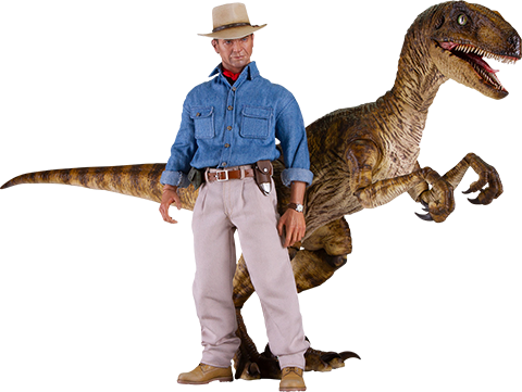 Chronicle Collectibles Dr. Alan Grant and Velociraptor Sixth Scale Figure Set
