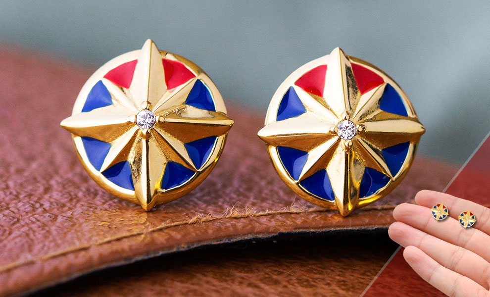 Gallery Feature Image of Captain Marvel Star Stud Earrings Jewelry - Click to open image gallery