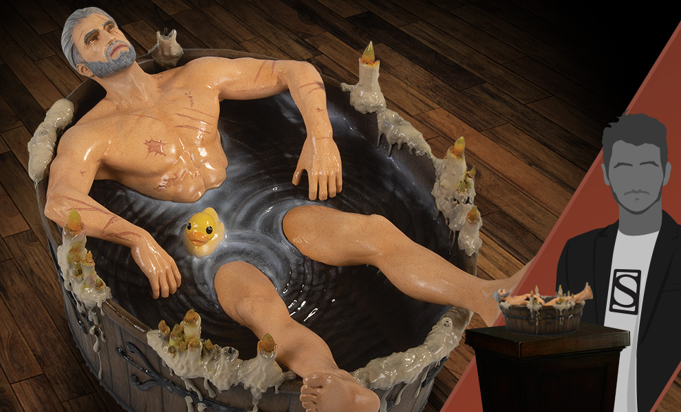 Gallery Feature Image of Geralt in the Bath Statuette - Click to open image gallery