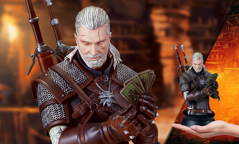 Gallery Feature Image of Geralt Playing Gwent Bust - Click to open image gallery