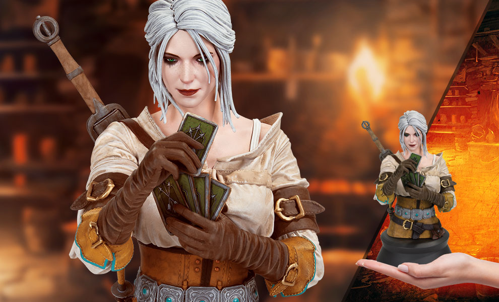 Gallery Feature Image of Ciri Playing Gwent Bust - Click to open image gallery